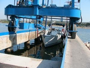 Mise à l'eau du bateau
